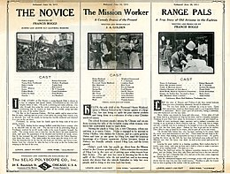 Release flier for THE NOVICE, 1911 ; THE MISSION WORKER, 1911 ; RANGE PALS, 1911.jpg