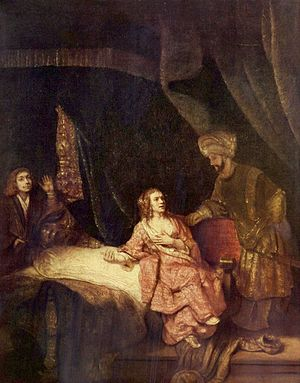 Potiphar and his wife - Joseph Accused by Potiphar's Wife, by Rembrandt van Rijn, 1655.