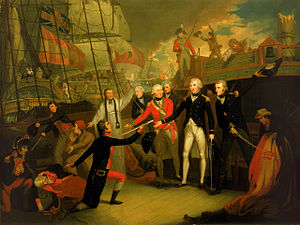 Battle of Cape St Vincent (1797) - Nelson receiving the surrender of the ''San José'' at the Battle of Cape St Vincent, 14 February 1797 by Daniel Orme, painted 1799