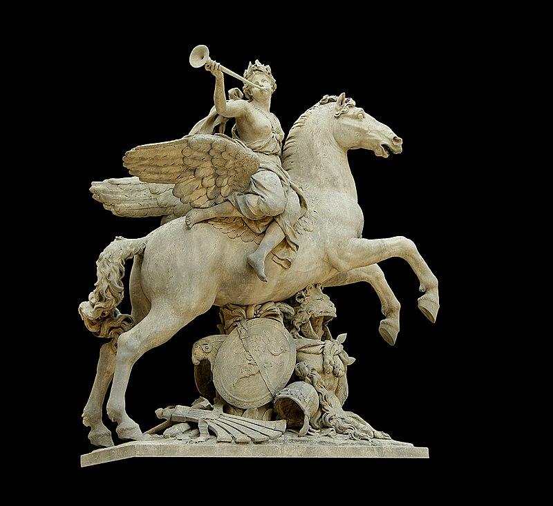 La renommée chevauchant Pégase, sculpture d'Antoine Coysevox commandée en 1699 par Louis XIV pour la décoration du parc de Marly. Transférée à l'entrée du jardin des Tuileries en 1719, elle est remise au musée du Louvre en 1986.   (définition réelle 3873×3550)