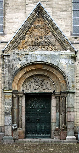 Ribe Cathedral - The cat's head portal from the late 12th century.