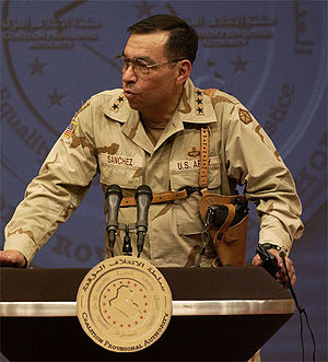 Ricardo Sanchez - Sanchez orating at a Baghdad press conference in September 2003.