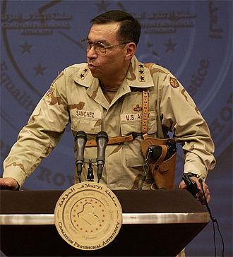 Ricardo Sanchez - Sanchez orating at a Baghdad press conference in September 2003.