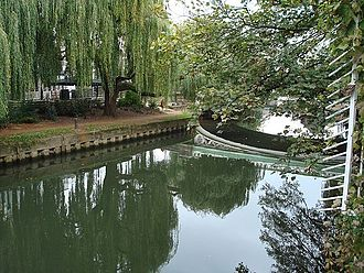 Guildford - The River Wey in Guildford is canalised into the Wey Navigation