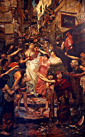 Vitellius - Vitellius dragged through the streets of Rome by the populace, Georges Rochegrosse (1883)
