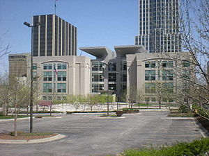 Roman L. Hruska Federal Courthouse - The courthouse as seen from the west, on 18th Plz