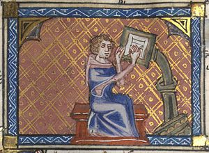 Roman de la Rose - Author of a 14th century copy of Roman de la Rose at his writing desk. NLW MS 5016D