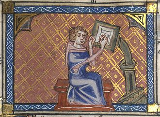 Illuminated manuscript - The author of a manuscript at his writing desk. 14th Century