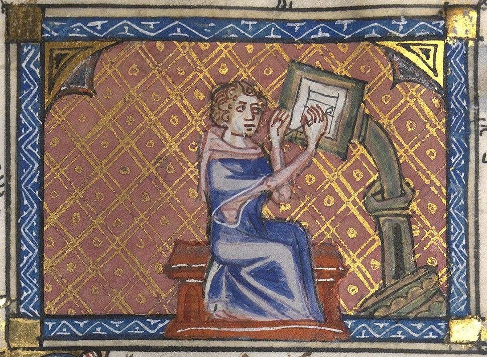 Roman de la Rose f. 28r (Author at writing desk)