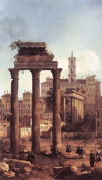History of Rome - Rome: Ruins of the Forum, Looking towards the Capitol (1742) by Canaletto
