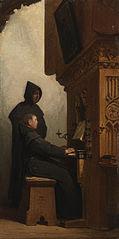Een orgelspelende en zingende monnik (te Deum Laudamus)