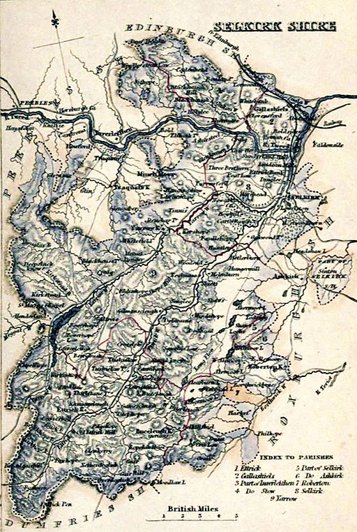 SELKIRKSHIRE Civil Parish map