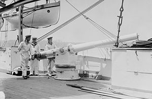 SMS Bremen - 10.5 cm gun on board Bremen