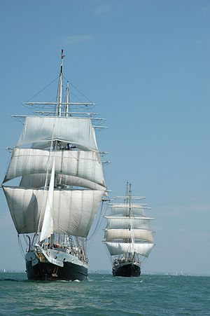 Jubilee Sailing Trust - Lord Nelson front, Tenacious background.