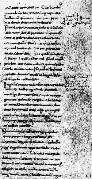 Francophone literature - The Serments de Strasbourg, the oldest preserved text in the French language.
