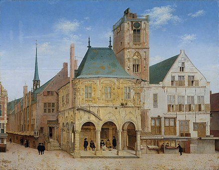 The old town hall in Amsterdam where the Bank of Amsterdam was founded in 1609, painting by Pieter Saenredam. Saenredam - Het oude stadhuis te Amsterdam.jpeg
