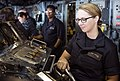 Sailor simulates helmsman watch in the bridge during a fast cruise aboard USS Wasp. (34187774134).jpg