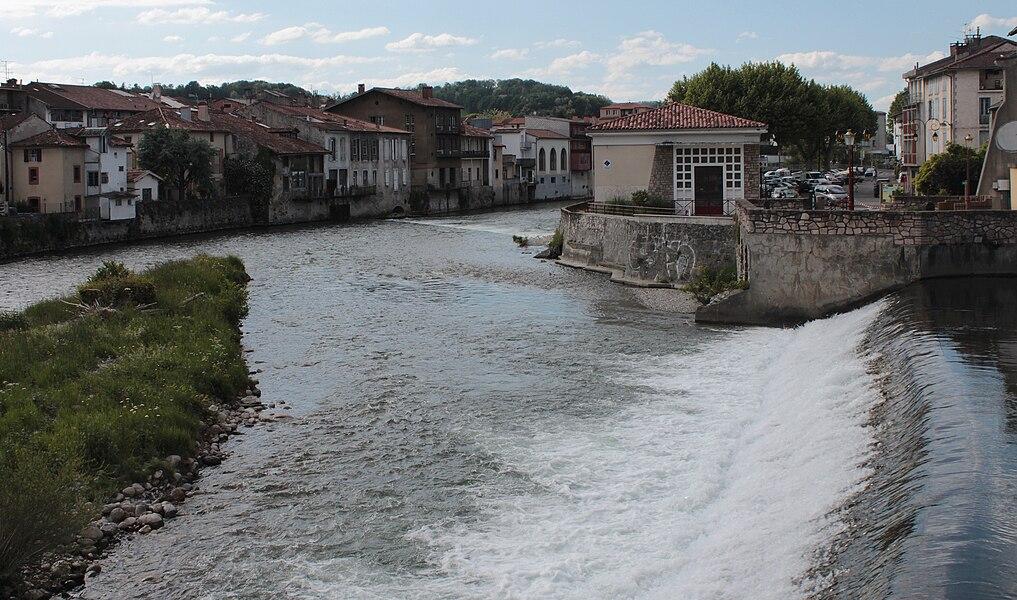 Salat River in Saint-Girons, Ariège, France.