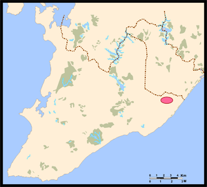 Deputado Luís Eduardo Magalhães International Airport - Location of airport in Salvador in red.