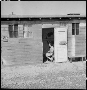 San Bruno, California - Barrack home in one of the long lines of converted horse stalls at Tanforan Assembly Center, June 16, 1942