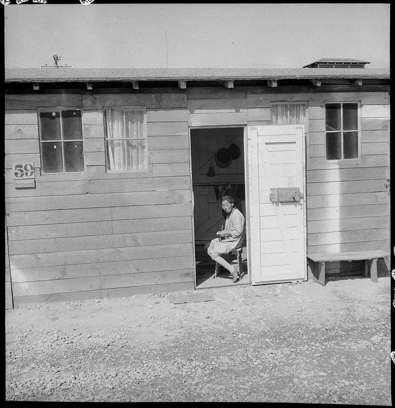 San Bruno, California. Barrack home in one of the long lines of converted horse stalls. Each famil . . . - NARA - 537897.jpg