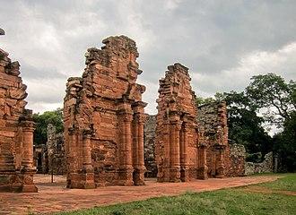 San Ignacio Miní - Remains of the entrance to the church