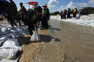2011 Thailand floods - Sandbag barriers were constructed to control flooding, with limited success.