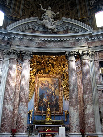 Sant'Andrea al Quirinale - Main altar - Martyrdom of  Saint Andrew (1668) by Guillaume Courtois.