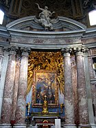 The Church of Sant'Andrea al Quirinale, designed by Gian Lorenzo Bernini, is a very good example of Baroque architecture with its domed roof and curved contours, and is also a fine example of Baroque painting with the shown altar, which portrays a very dramatized painting of Saint Andrew being crucified.