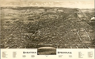 Saratoga Springs, New York - Perspective map of Saratoga Springs with image of racetrack inset and list of landmarks from 1888 by L.R. Burleigh