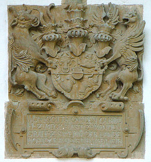 Charles I, Duke of Mecklenburg - Charles's coat of arms at the getehouse he built in 1588 at the Castle Island in Mirow