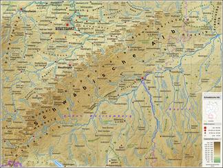 Reliefkarte der Schwäbischen Alb