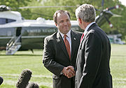 McClellan with President Bush as he announced his resignation as White House Press Secretary.