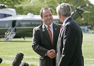 Scott McClellan - McClellan with President Bush as he announced his resignation as White House Press Secretary.