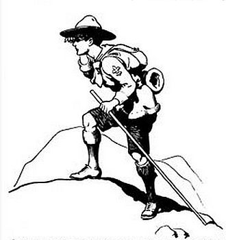 Scout staff - Baden-Powell's drawing of a Boy Scout with his staff, from the front cover of Scouting for Boys: Part III, published in 1908