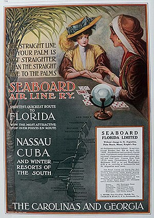 """Air-line railroad - """"The straight line of your palm is not straighter than the straight line to the palms"""": another advertisement for the Seaboard Air Line's """"shortest, quickest route to Florida,"""" 1908."""