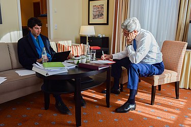 Secretary Kerry Works With Speechwriter Imbrie as He Finalizes Keynote Address to World Economic Forum in Switzerland (24169319919).jpg