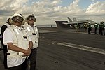 Secretary of Defense Ash Carter and Indian Defence Minister Manohar Parrikar observe flight operations as they tour the USS Dwight D. Eisenhower.jpg
