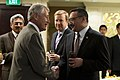 Secretary of Defense Chuck Hagel greets Malaysian Minister of Defense Hishammuddin Hussein.jpg