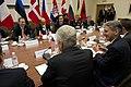 Secretary of Defense Chuck Hagel meets with British Minister of Defense Philip Hammond, Canadian Minister of Defense Peter MacKay, and French Minister of Defense Jean Yves Le-Drian (2).jpg
