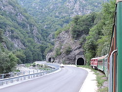 Septemvri-Dobrinishte narrow gauge line, Bulgaria, 2013.JPG