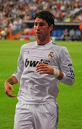 Sergio Ramos con la maglia del Real Madrid nella stagione 2010-2011.