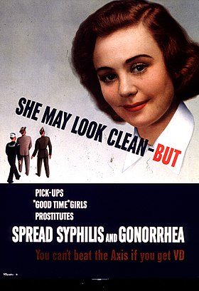 """American poster propaganda targeted at World War II soldiers and sailors appealed to their patriotism in urging them to protect themselves. The text at the bottom of the poster reads, """"You can't beat the Axis if you get VD."""" Images of women were used to catch the eye on many VD posters."""