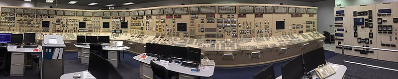 Simulations and training are run in this room, an exact duplicate of the control room of the operational reactor.