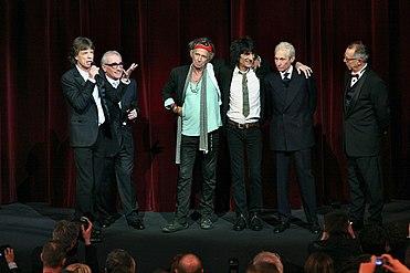 Martin Scorsese con i Rolling Stones alla prima di Shine a Light (2008)