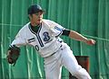 Shoma Sato, pitcher of the Yokohama BayStars, at BayStars Stadium..JPG
