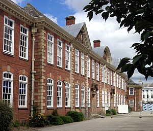 Shrewsbury Sixth Form College - The Grade II listed main building, built in 1910, as viewed from Claremont Bank.