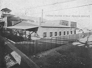 1917 Bath Riots - Side view of the El Paso disinfecting plant and yard of the US Immigration Station