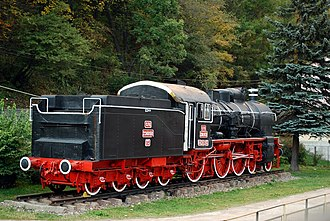 Căile Ferate Române - CFR steam engine 230-039 exhibited in Sinaia railway station. The 230 series were steam engines used for passenger train service.