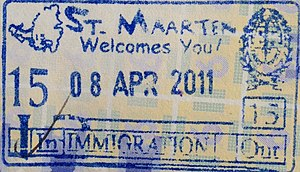 Visa policy of the Kingdom of the Netherlands in the Caribbean - Sint Maarten entry stamp